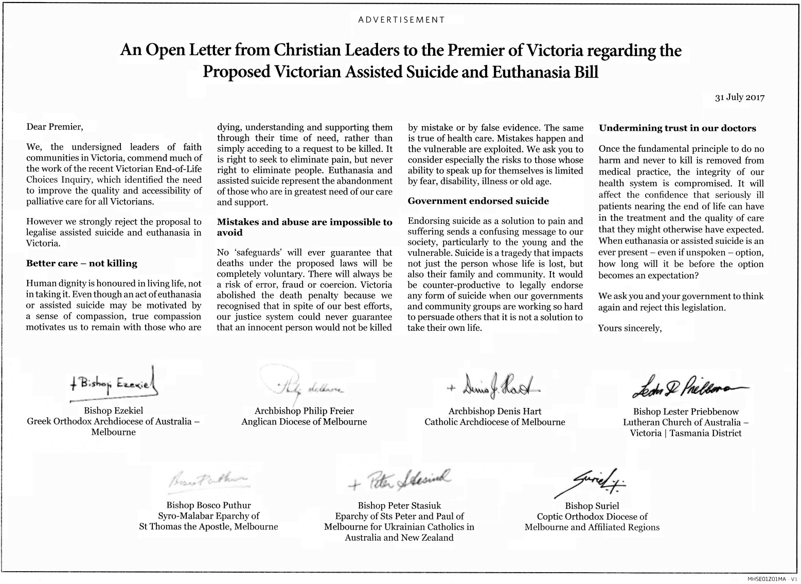 Chart: The June 2017 bishops' anti-VAD print advertisement